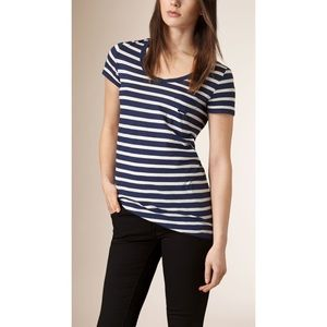 Burberry Brit Striped Cotton Jersey Tee